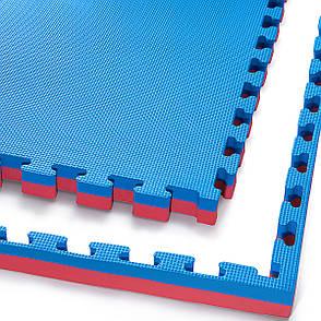 Мат пазл (ластівчин хвіст) килимок татамі 4FIZJO Mat Puzzle EVA 100 x 100 x 4 см 4FJ0169 Blue/Red, фото 2