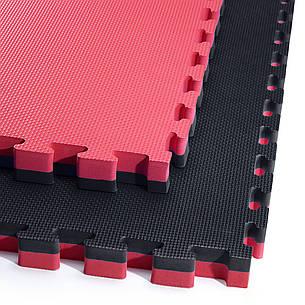 Мат пазл (ластівчин хвіст) килимок татамі 4FIZJO Mat Puzzle EVA 100 x 100 x 4 см 4FJ0199 Black/Red, фото 2
