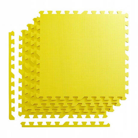 Мат пазл (ласточкин хвост) коврик татами 4FIZJO Mat Puzzle EVA 120 x 120 x 1 cм 4FJ0076 Yellow, фото 2