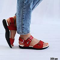 Красные кожаные босоножки на липучке, фото 1