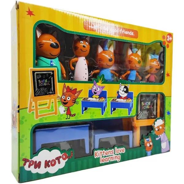 """Набір фігурок Три кота """"Школа"""" М-8812 персонажі мультфільму"""