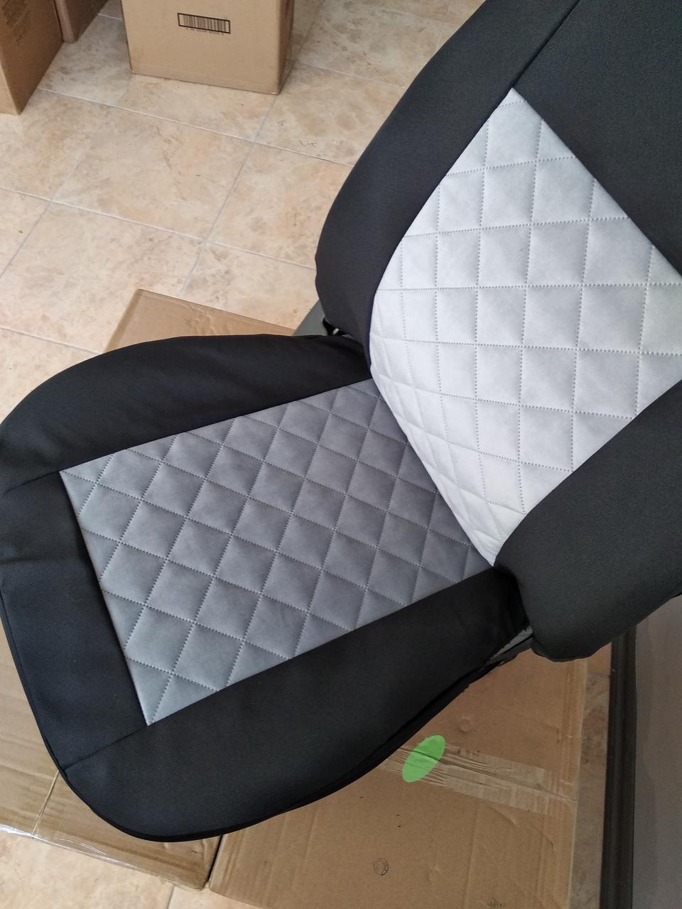 Майки на передние сидения МАХ алькантара комплект 1+1 серый светлый
