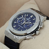 Часы Hublot Geneva Chronograph Silver/Blue AAA 1012-0067