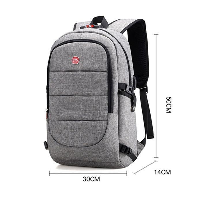Рюкзак для работы, школы, поездок, оборудован кодовым замком, выносной USB и аудио порт