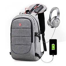 Рюкзак для работы, школы, поездок, оборудован кодовым замком, выносной USB и аудио порт, фото 3