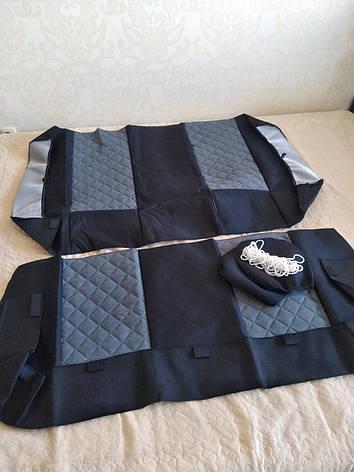 Чохли на сидіння авто універсальні MAX алькантара (спинка деленка) Сірий, фото 2