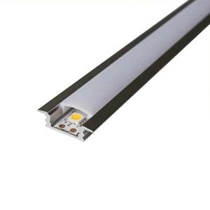 Комплект. Профиль для светодиодной ленты врезной 7х16 мм. ЛПВ7. Матовый. Цвет черный