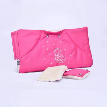 Муфта на коляску розовая Муфта на ручку коляски или санок Муфта с прихватками Коврик-муфта на коляску