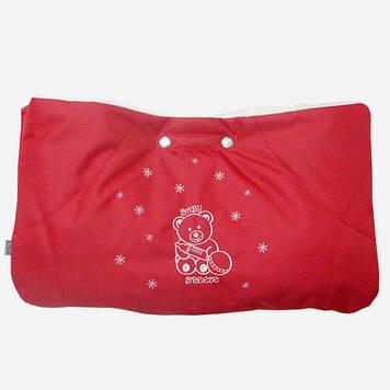 Муфта на коляску красная с прихватками Муфта для рук на коляску Муфта на детские санки или на ручку коляски
