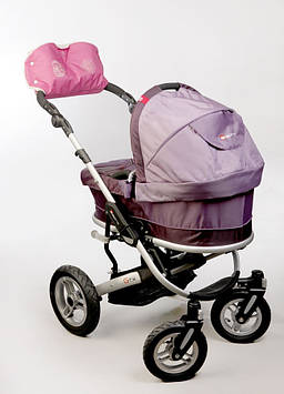 Муфта на коляску для мамы и ребенка розовая Муфта на ручку детской коляски Муфта на коляску с прихватками