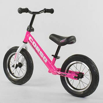 Легкий велобег с надувными колесами Велобег детский Розовый беговел