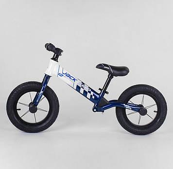 Детский велобег  бело-синий Легкий детский беговел для мальчика от 3-х лет Беговел для прогулок