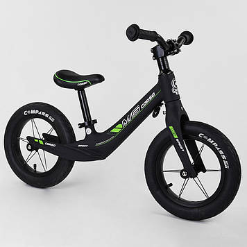Велобег с большими надувными колесами Детский беговел Велобег для детей Велобег Беговел черный матовый