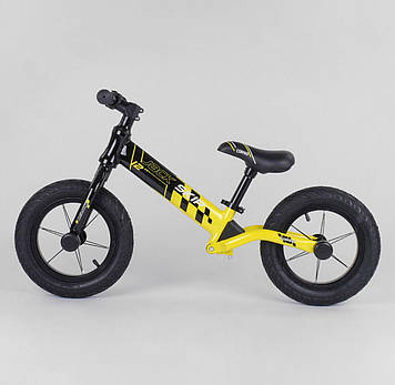 """Детский велобег черно- желтый Легкий детский беговел для мальчика от 3-х лет Беговел для прогулок  Колеса 12"""""""