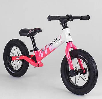 Детский велобег  бело-розовый Легкий детский беговел для девочки от 3-х лет Беговел для прогулок