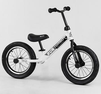 """Детский велобег с надувными колесами 14"""", сиденье регулируется по высоте Белый беговел"""