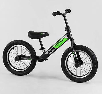 """Детский велобег для малышей с надувным колесами диаметром 14"""" и алюминиевыми дисками Зеленый беговел"""