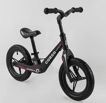 Велобег с регулировкой сиденья и большими надувными колесами для детей Черный беговел