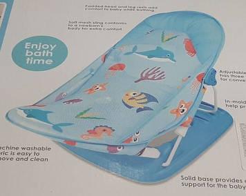 Горка-лежак для купания Горка з сеткой для купания ребенка  синяя Горка-лежак для купания новорожденных