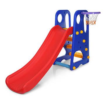 Детская горка для дома и улицы с баскетбольным кольцом, мячом и насосом  (высота 103 см) Детская горка