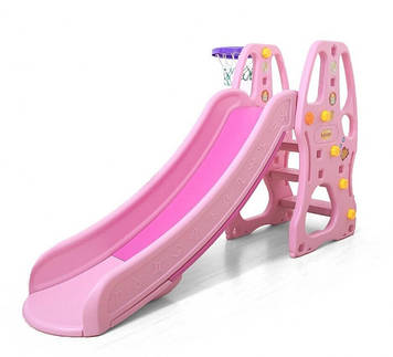 Розовая горка для малышей Горка с баскетбольным кольцом Пластиковая горка с бортами Горка детская розовая