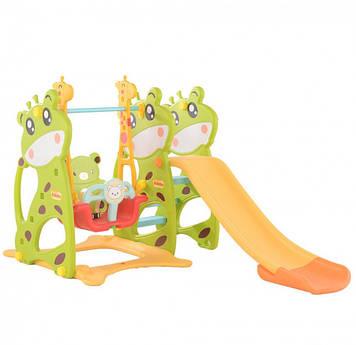 Разноцветная игровая площадка Детская пластиковая площадка с горкой Игровая площадка с качелей