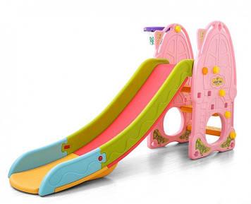 Пластиковая детская горка Горка разноцветная Детская горка с баскетбольным кольцом Горка с бортами