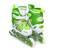 Ролики детские раздвижные (роликовые коньки) Power Champs Green Размеры 29-33,34-37