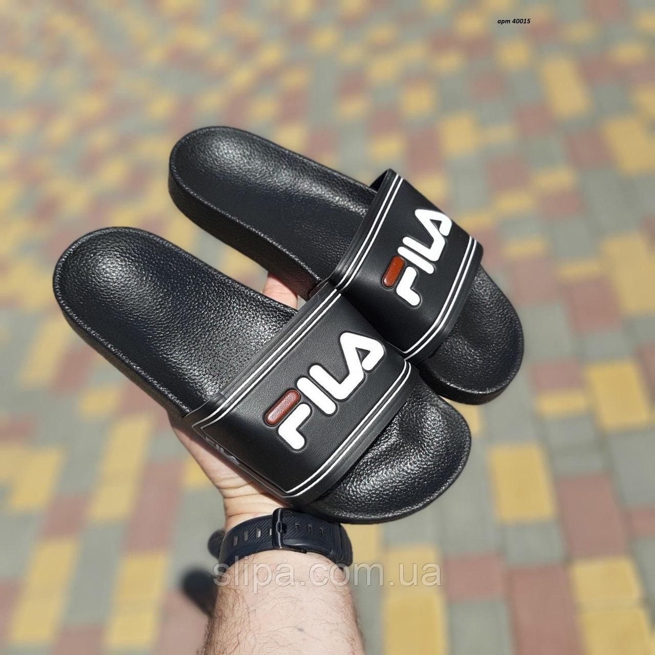 Чёрные мужские шлёпанцы Fila на чёрной подошве | искусственная кожа + пеноматериал