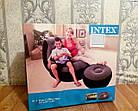 ОПТ Надувное виниловое кресло с пуфиком Intex Air Sofa с флокированным покрытием и насосом, фото 10