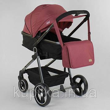 Детская коляска трансформер 2 в 1 JOY Naomi 95823 Бордовый, сумка, футкавер