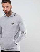 Мужская спортивная кофта кенгуру, толстовка Adidas (Адидас) серая
