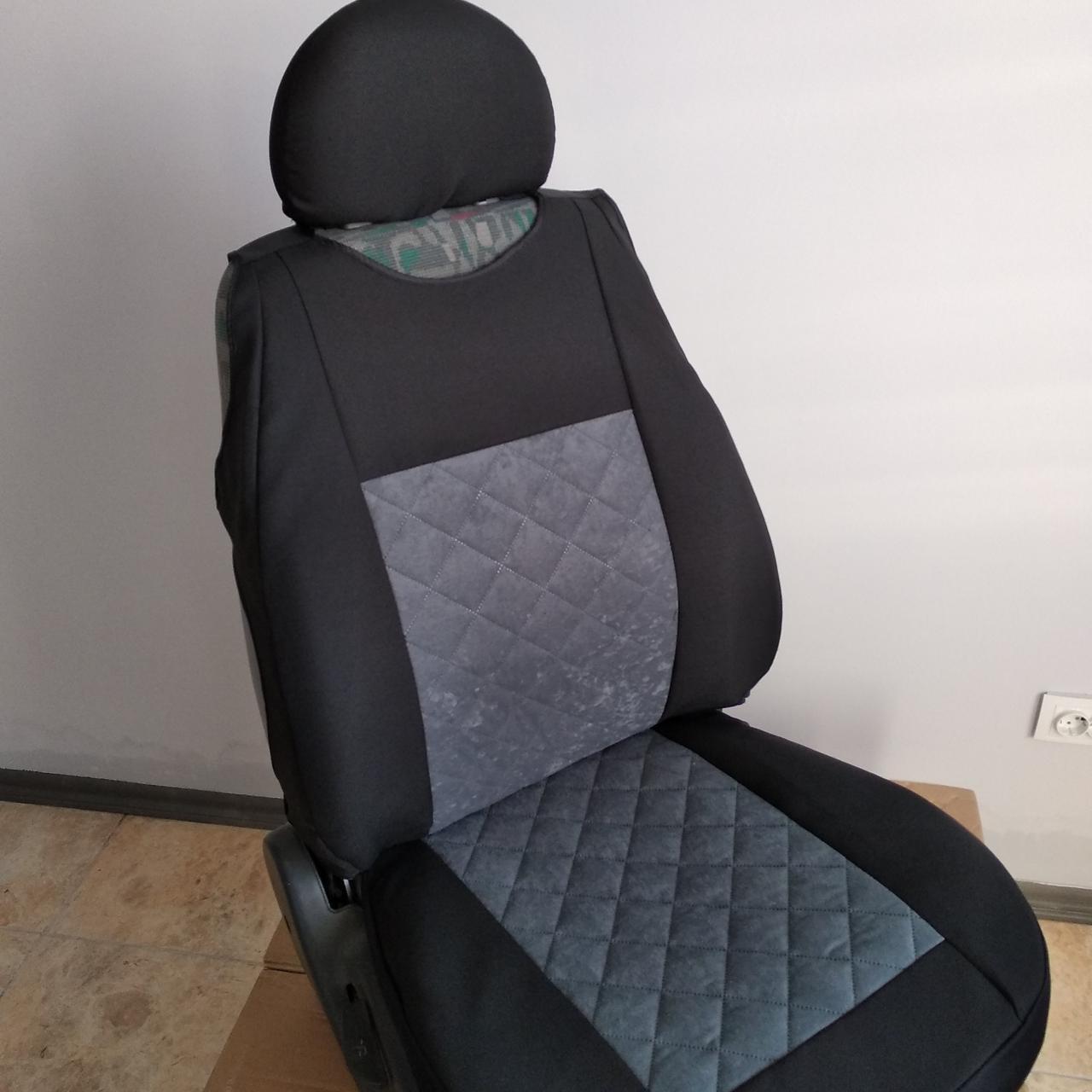 Майки на передние сидения МАХ алькантара комплект 1+1 серый