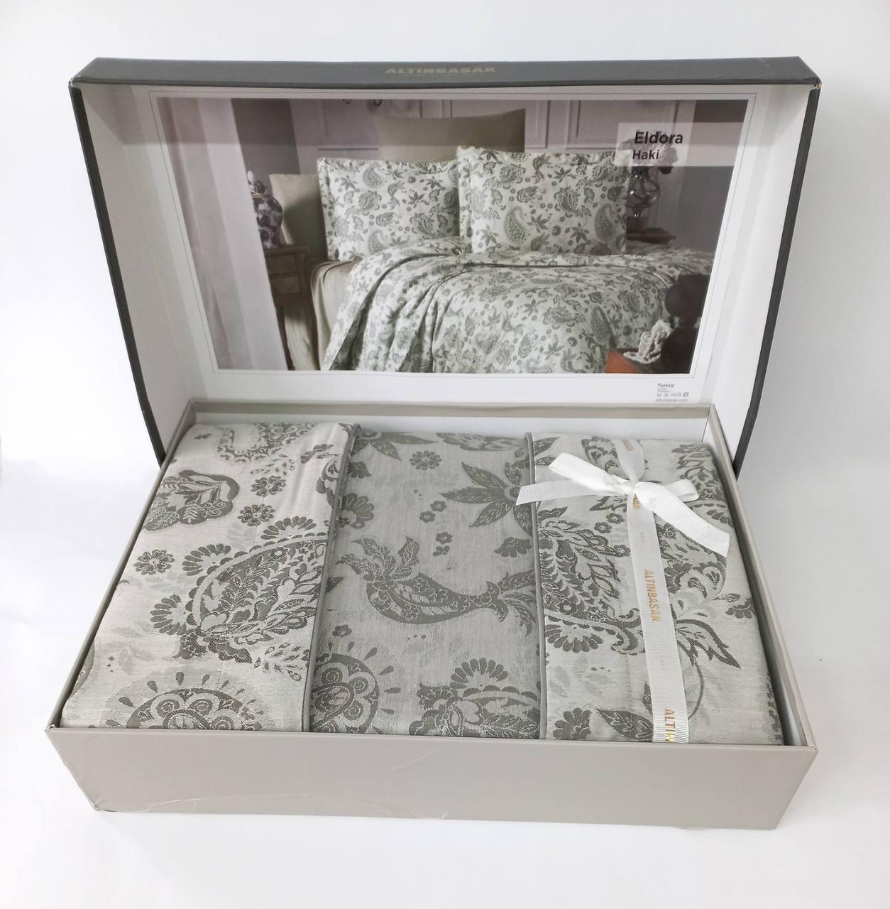 Постельное белье Altinbasak сатин жакард 200x220 Eldora Haki