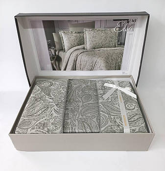 Постельное белье Altinbasak сатин жакард 200x220 Elsa Haki