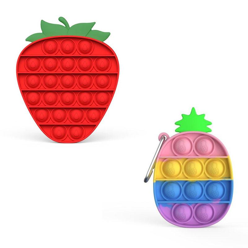 Комплект антистресс игрушек пупырка попит фиджет Bouble Push Pop It клубника + Брелок pop it ананас