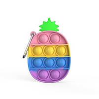 Комплект антистресс игрушек пупырка попит фиджет Bouble Push Pop It клубника + Брелок pop it ананас, фото 3