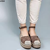 Коричневые босоножки на плетенной замшевые с кисточкой, фото 3