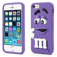 Чехол M&Ms фиолетовый из высококачественного силикона для iphone 5/5s, фото 1