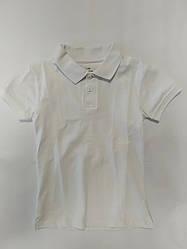 Белая футболка поло тенниска  для школы на мальчика подростка на рост 140-158 см