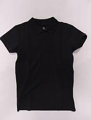 Школьная детская черная футболка поло для мальчика подростка на рост  140-158 см
