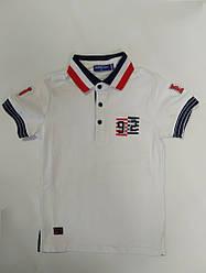 Белая детская футболка поло для мальчика на рост 98-116 см