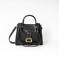 Женская деловая сумка K10-20/1 черная саквояж с косметичкой железные ручки ремешок на плечо, фото 1