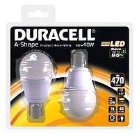 Лампы светодиодные 2 шт. DURACELL 6W > 40W (E27)