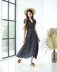 Сукня літня льна з принтом в чорному кольорі