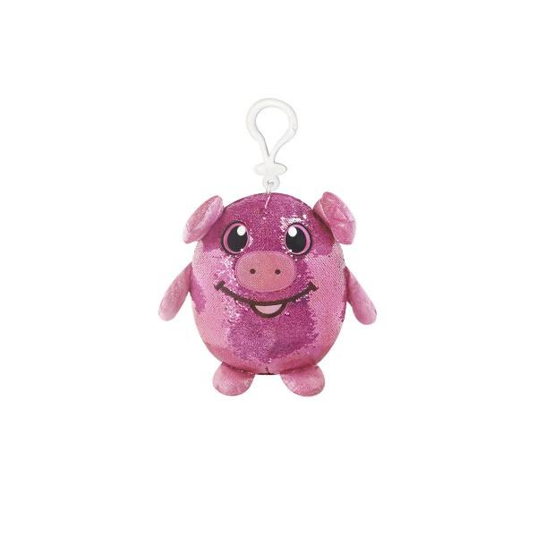 М'яка іграшка з паєтками SHIMMEEZ – ЗАБАВНА СВИНКА (9 см, на кліпсі)