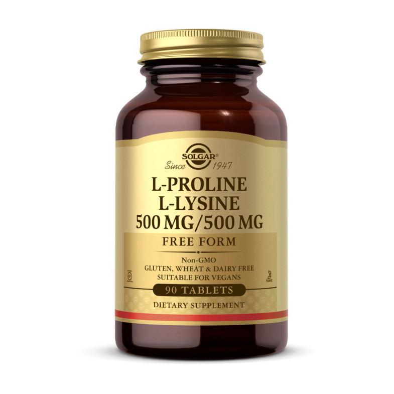 Пролин + Лізин Solgar L-Proline L-Lysine 500 mg / 500 mg 90 таблеток