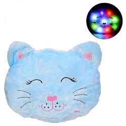 """Игрушка-подушка с подсветкой """"Котик"""", голубой BL0909"""
