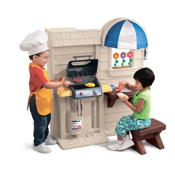 Детская кухня с барбекю 2-в-1 (свет,звук эфф..) с набором посудки, Little Tikes