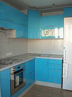 Кухня голубая, угловая, прямая, глянцевая, фото 1